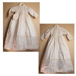🍼Creaciones Olga Raw Silk Christening Gown w/ cap